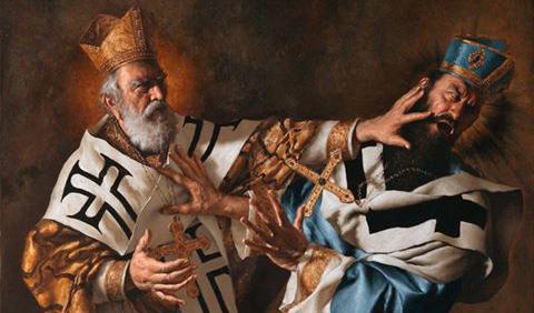 Święty Mikołaj uczy pokory Ariusza
